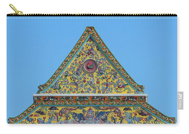 Scenic Carry-all Pouch featuring the photograph Wat Ratcha Orasaram Phra Wihan Gable Dthb0862 by Gerry Gantt