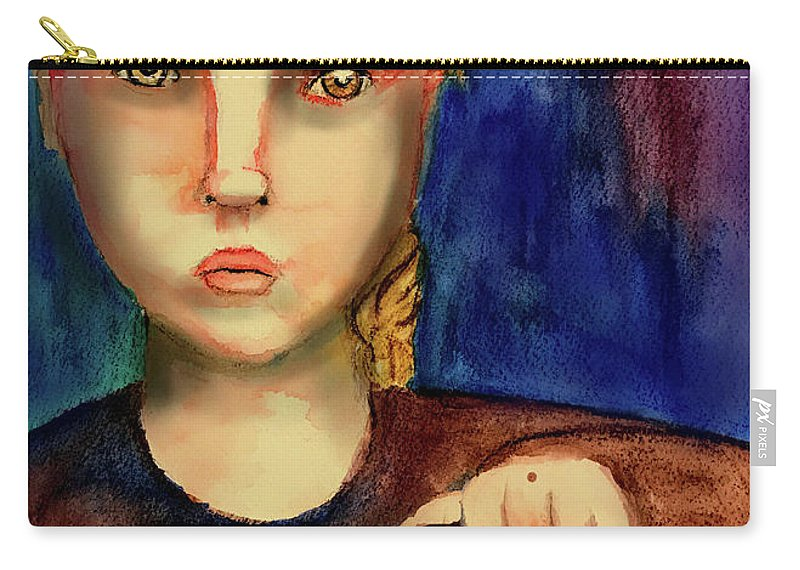 Girl Carry-all Pouch featuring the painting Watching by Cynthia Richards