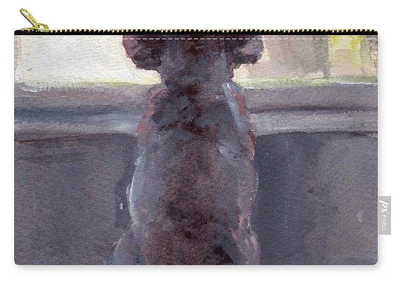Grey Poodle Carry-all Pouch featuring the painting Watching For Spring by Sheila Wedegis