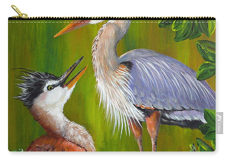 Great Blue Heron Carry-all Pouch featuring the painting Watching Over Junior by Dee Carpenter