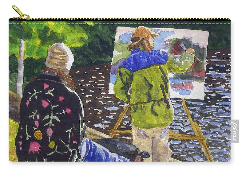 Artist Carry-all Pouch featuring the painting Watching The Maestro by Sharon E Allen