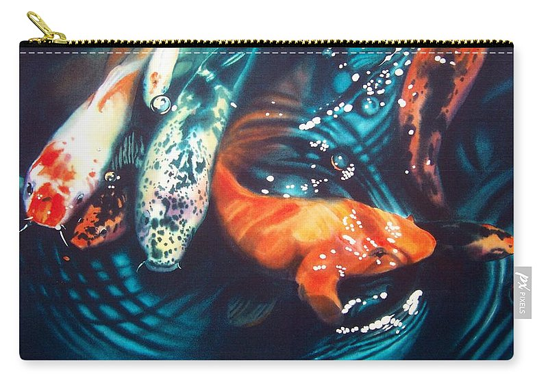 Koi Carry-all Pouch featuring the painting Water Ballet by Denny Bond
