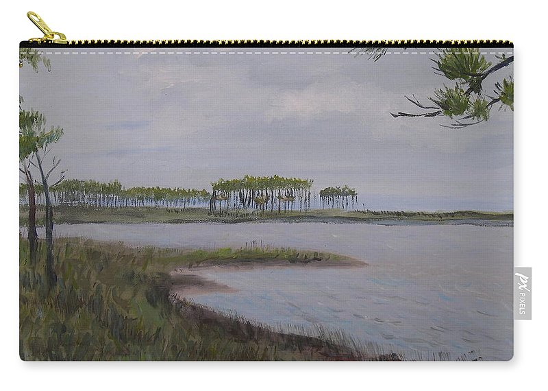 Landscape Beach Coast Tree Water Carry-all Pouch featuring the painting Water Color by Patricia Caldwell