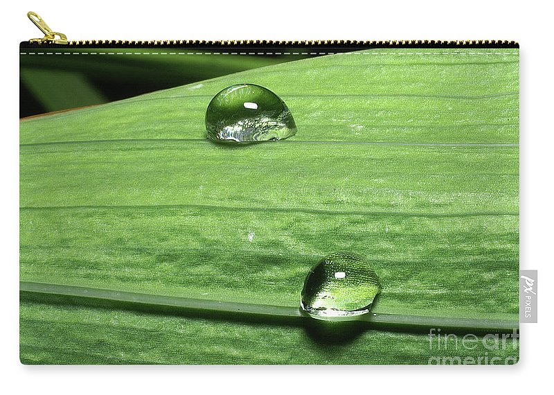 Psi Carry-all Pouch featuring the photograph Water Droplet On A Leaf by Ofer Zilberstein
