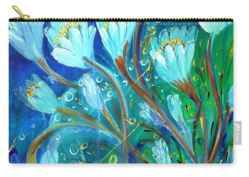 Flowers Carry-all Pouch featuring the painting Water Flowers by Luiza Vizoli