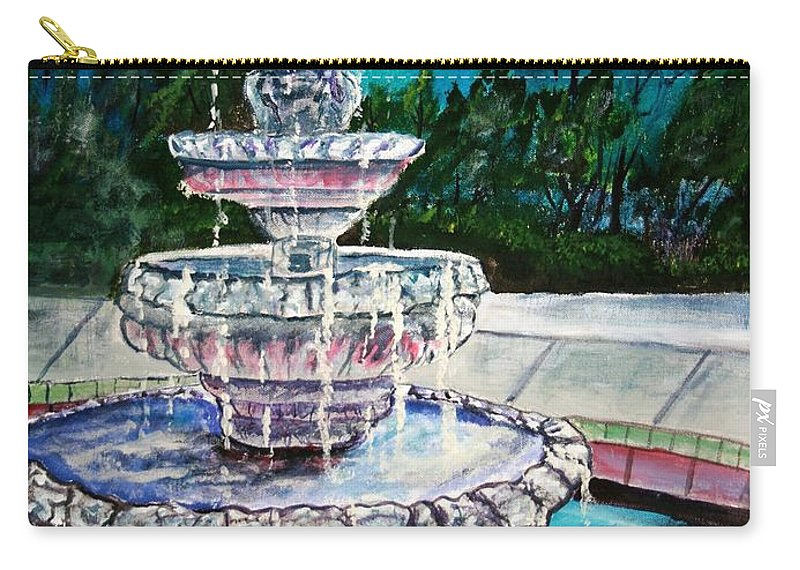 Acrylic Carry-all Pouch featuring the painting Water Fountain Acrylic Painting Art Print by Derek Mccrea