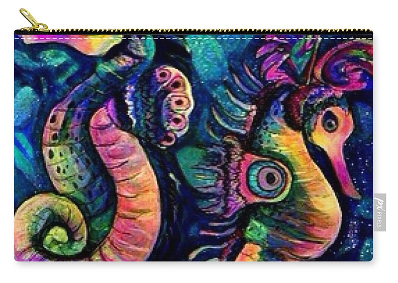 Sea Horses Carry-all Pouch featuring the digital art Water Horses B by Megan Walsh