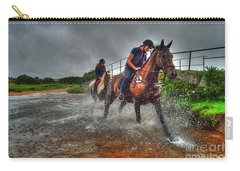 Horses Carry-all Pouch featuring the photograph Water Horses by Rob Hawkins