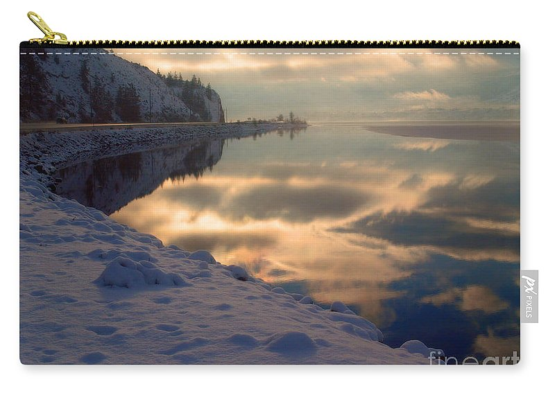 Highway 97 Carry-all Pouch featuring the photograph Water Ice Light And Highway 97 by Tara Turner