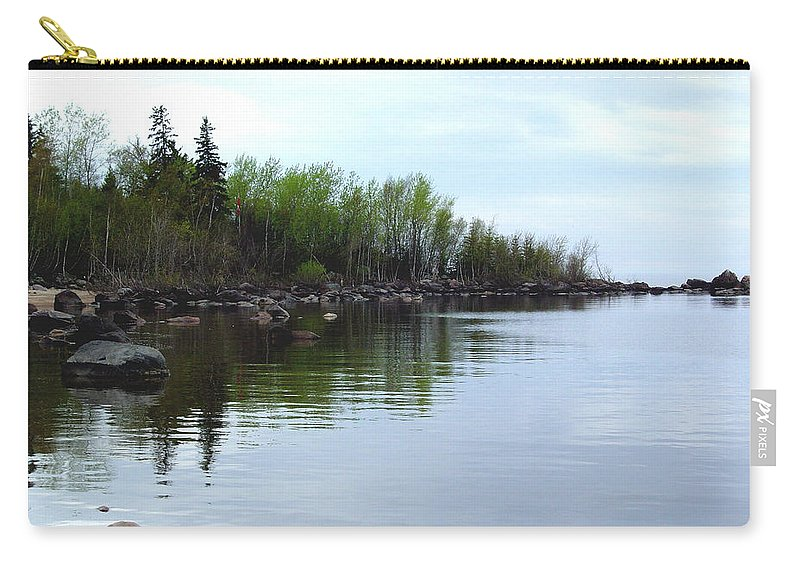 Grand Beach Shoreline Carry-all Pouch featuring the photograph Water Like Glass by Joanne Smoley