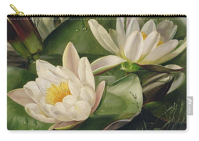 Nature Carry-all Pouch featuring the painting Water Lilies by Albert Williams