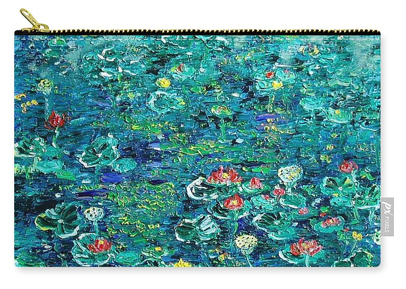 Water Lily Paintings Carry-all Pouch featuring the painting Water Lilies Lily Pad Lotus Water Lily Paintings by Seon-Jeong Kim