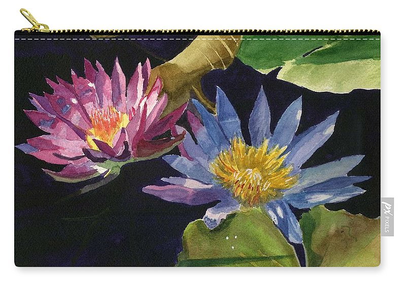 Waterlilies Carry-all Pouch featuring the painting Water Lilies by Lynne Reichhart