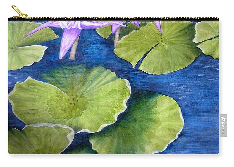 Water Lilies Carry-all Pouch featuring the painting Water Lilies by Mary Deal