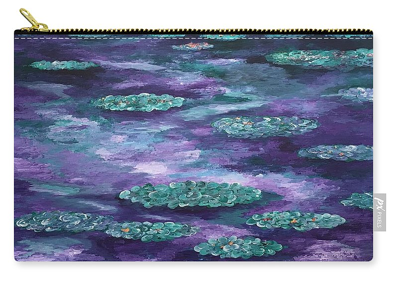 Oh Wow Carry-all Pouch featuring the painting Water Lilies by Suniti Bhand