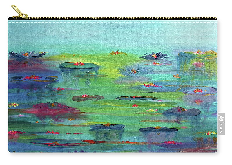 Water Lily Carry-all Pouch featuring the painting Water Lillies by Stacey Zimmerman