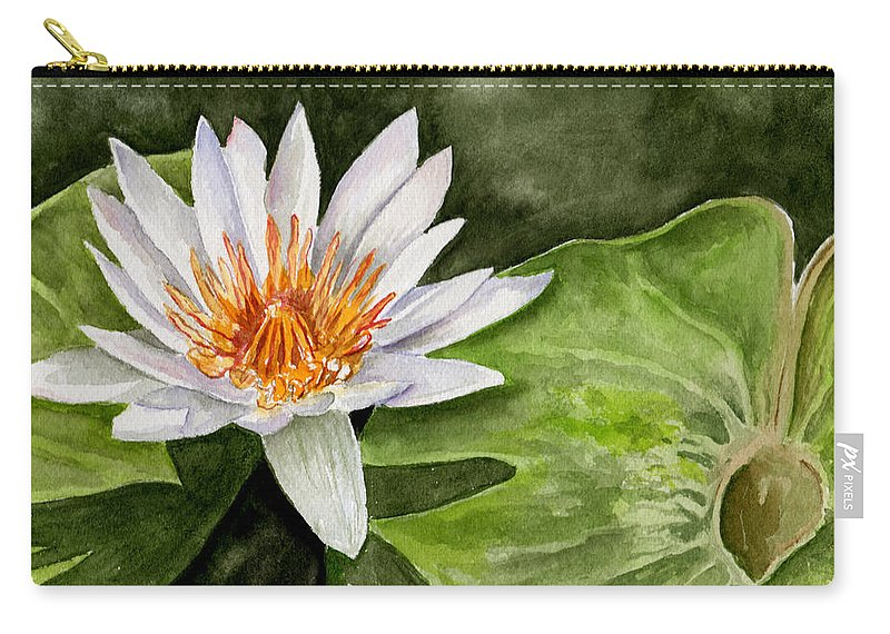 Flower Floral Water Lily Watercolor Carry-all Pouch featuring the painting Water Lily by Brenda Owen