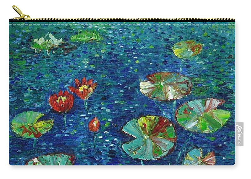 Lotus Paintings Carry-all Pouch featuring the painting Water Lily Lotus Lily Pads Paintings by Seon-Jeong Kim