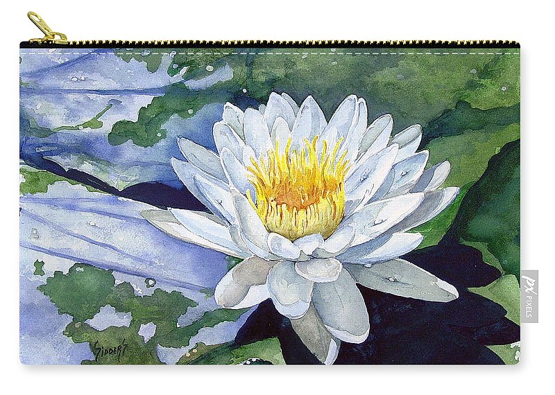 Flower Carry-all Pouch featuring the painting Water Lily by Sam Sidders