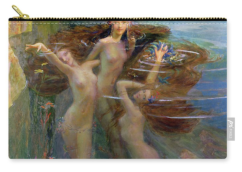 Pool Carry-all Pouch featuring the painting Water Nymphs by Gaston Bussiere