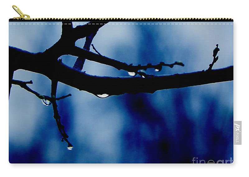 Branch Water Tree Drop Drops Photo Art Artist Artistic Landscape A An The Wet Dark Blue Branches Craig Walters On Of Photograph Carry-all Pouch featuring the digital art Water On Branch by Craig Walters