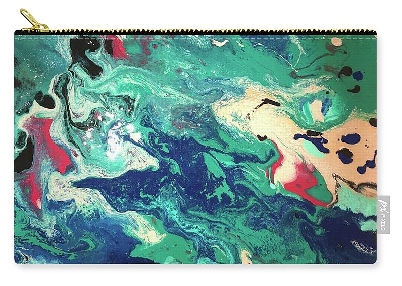 Water Boldly Excites Carry-all Pouch featuring the painting Water Panda by Mitzi Borota