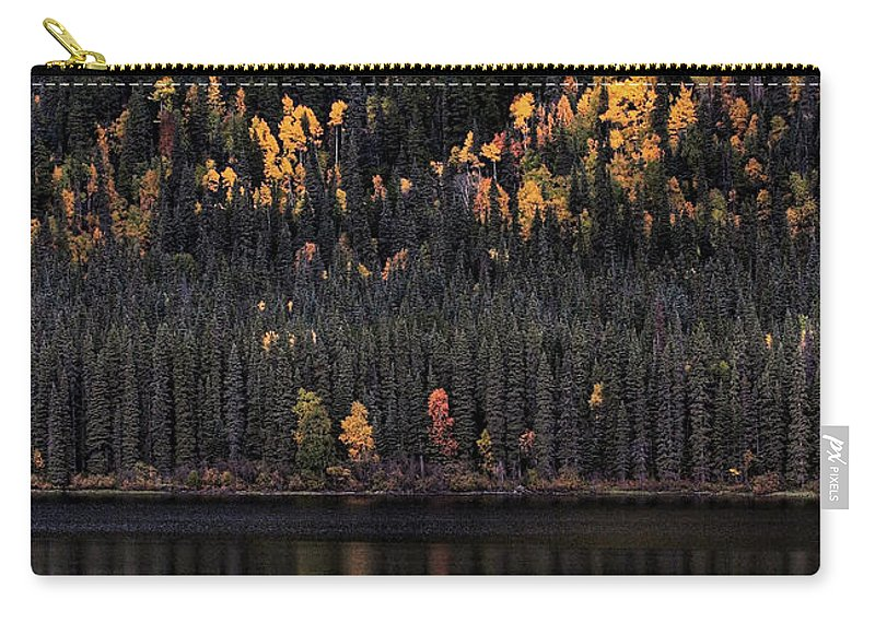 Autumn Carry-all Pouch featuring the digital art Water Reflections In Autumn by Mark Duffy