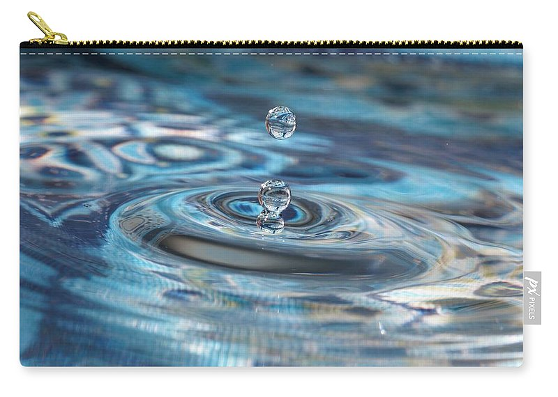 Water Drop Carry-all Pouch featuring the photograph Water Sculpture In Blue 1 by Kristina Jones