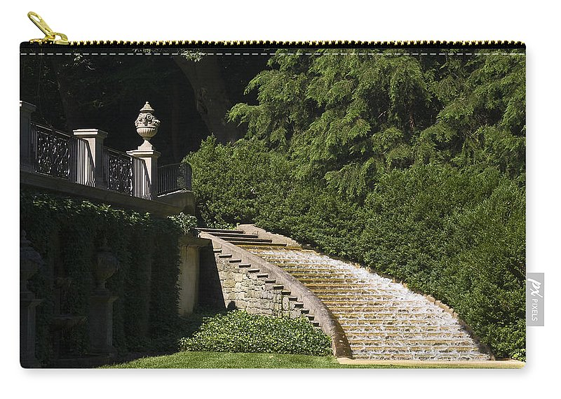 Water Cascading Down Curved Staircase Carry-all Pouch featuring the photograph Water Staircase by Sally Weigand