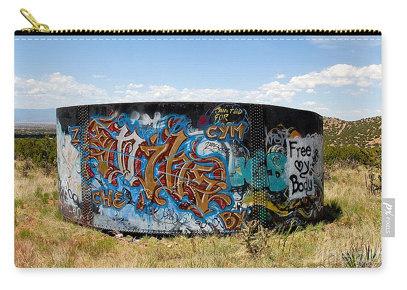 Graffiti Carry-all Pouch featuring the photograph Water Tank Graffiti by David Lee Thompson