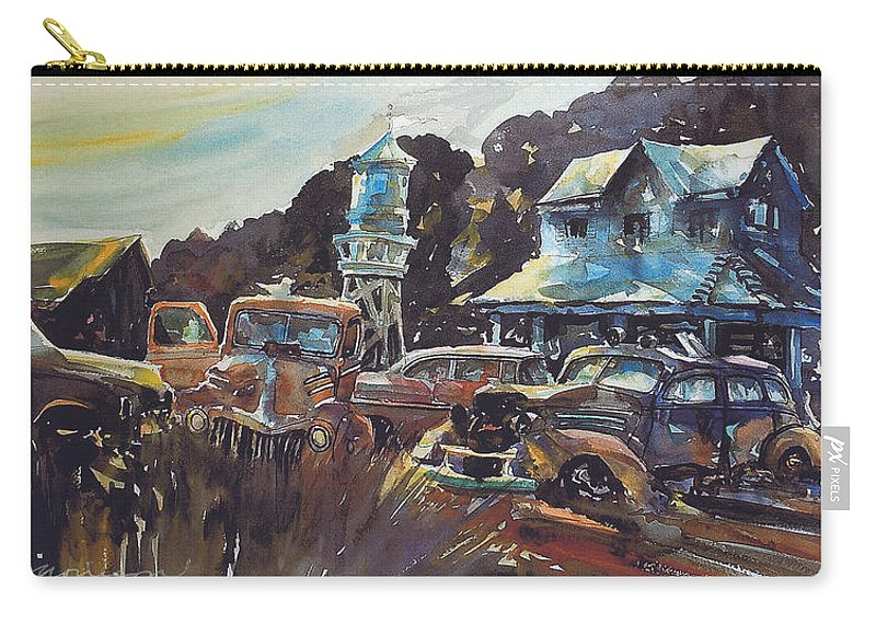 Old Cars Carry-all Pouch featuring the painting Water Tower Wardens by Ron Morrison