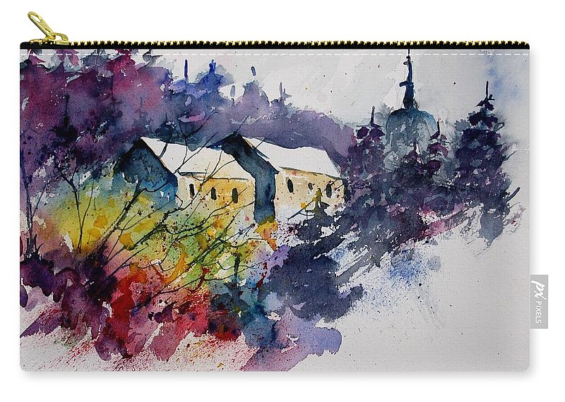 River Carry-all Pouch featuring the painting Watercolor 231207 by Pol Ledent