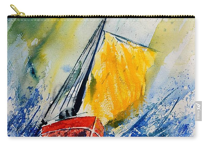Sea Waves Ocean Boat Sailing Carry-all Pouch featuring the painting Watercolor 280308 by Pol Ledent