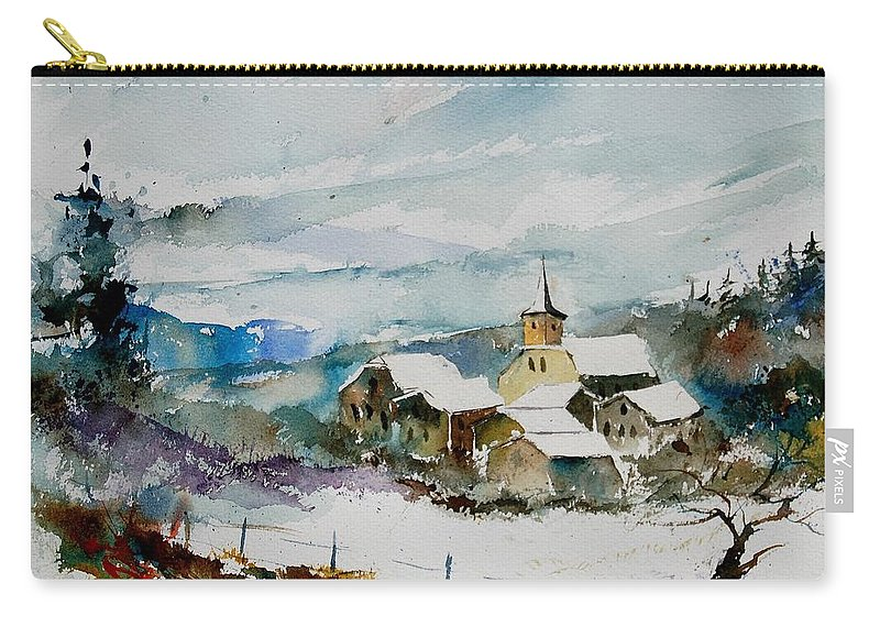 Winter Carry-all Pouch featuring the painting Watercolor 908011 by Pol Ledent