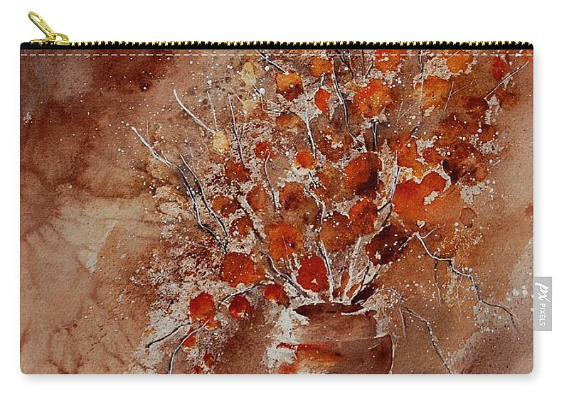 Poppies Carry-all Pouch featuring the painting Watercolor Autumn Bunch by Pol Ledent