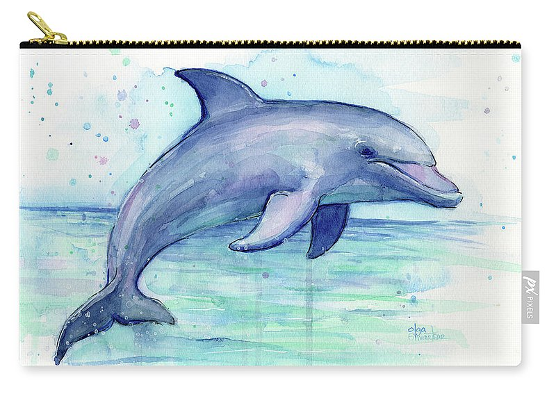 Dolphin Carry-all Pouch featuring the painting Watercolor Dolphin Painting - Facing Right by Olga Shvartsur