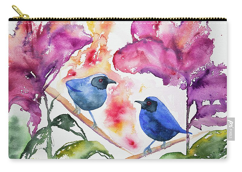 Masked Flowerpiercer Carry-all Pouch featuring the painting Watercolor - Masked Flowerpiercers With Flowers by Cascade Colors