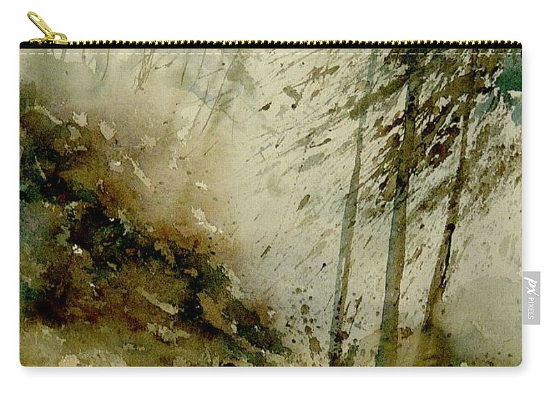 Landscape Carry-all Pouch featuring the painting Watercolor Misty Atmosphere by Pol Ledent