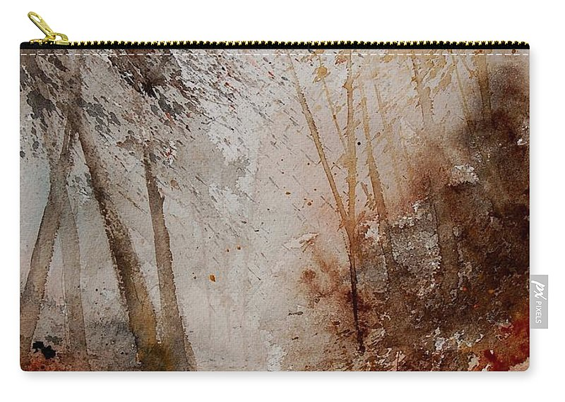Landscape Carry-all Pouch featuring the painting Watercolor Misty Path by Pol Ledent