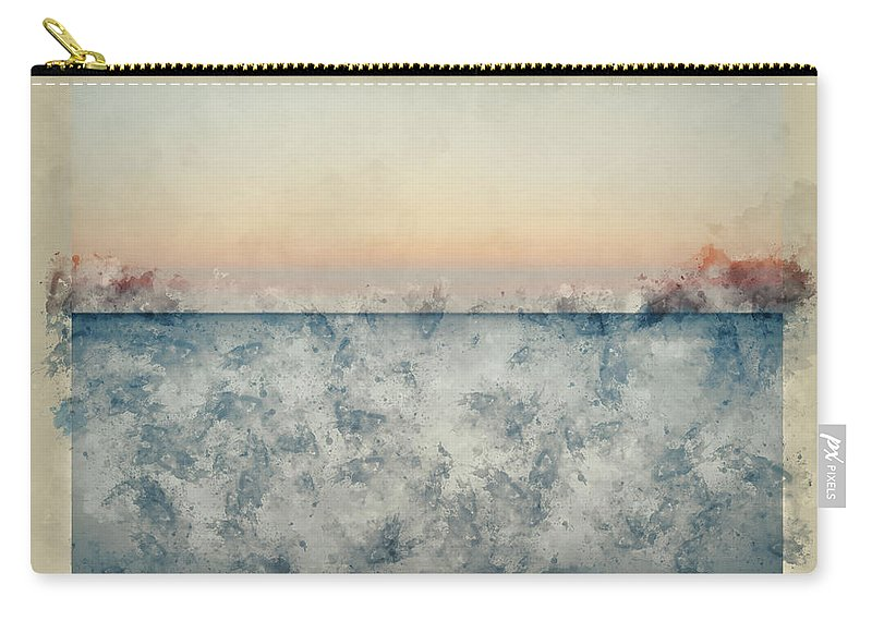 Landscape; Seascape; Sea; Ocean; Water; Waves; Ripples; Tide; Tidal; Flow; Long Exposure; Motion Blur; Blue; Orange; Calm; Peaceful; Tranquil; Serene; Concept; Conceptual; Sunset; Sundown; Evening; Dusk; Art; Artistic; Effect; Filter; Lines; Watercolor; Watercolour; Painting; Art; Artistic; Paper; Texture; Medium; Effect; Filter; Creative; Brushstrokes; Technique; Method Carry-all Pouch featuring the photograph Watercolor Painting Of Beautiful Seascape Image Of Calm Ocean At Sunset by Matthew Gibson