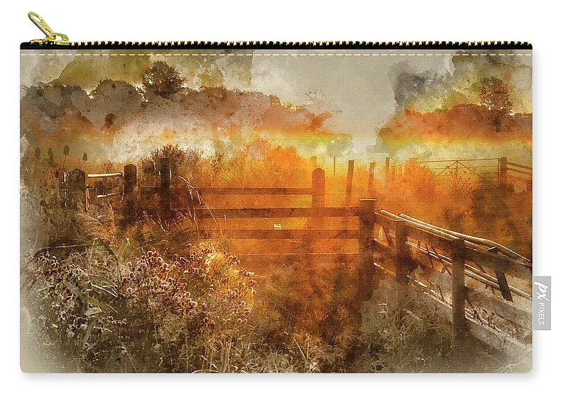 Landscape; Countryside; Rural; Sunrise; Dawn; Morning; Glow; Colorful; Vibrant; Orange; Gold; Golden; Sunlight; Sunny; Field; Dew; Fence; Gate; Backlit; Backlighting; Nature; Beautiful; England; English; Mist; Misty; Fog; Foggy; Summer; Season; Seasonal; Watercolor; Watercolour; Painting; Art; Artistic; Paper; Texture; Medium; Effect; Filter; Creative; Brushstrokes; Technique; Method Carry-all Pouch featuring the photograph Watercolor Painting Of Beautiful Sunrise Landscape Over Foggy English Countryside With Glowing Sun by Matthew Gibson