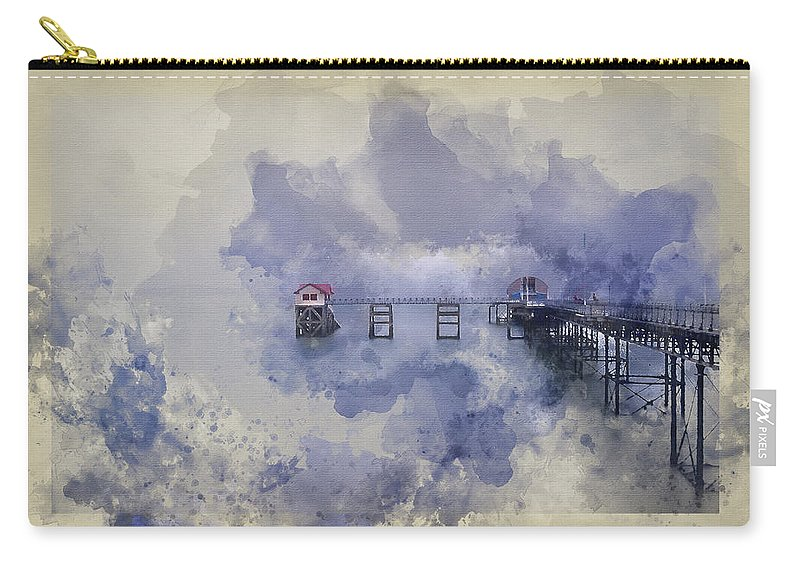 Mumbles Carry-all Pouch featuring the photograph Watercolor Painting Of Landscape Of Victorian Pier With Moody Sk by Matthew Gibson