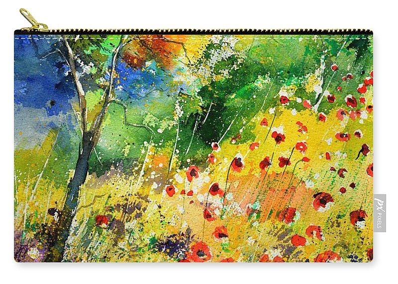 Poppies Carry-all Pouch featuring the painting Watercolor poppies 518001 by Pol Ledent