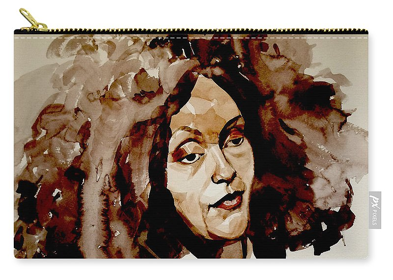 Portrait Carry-all Pouch featuring the painting Watercolor Portrait Of A Woman With Bad Hair Day by Greta Corens