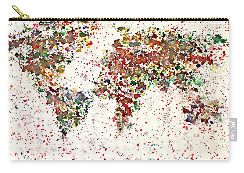 Earth Map Carry-all Pouch featuring the painting Watercolor Splashes World Map 2 by Georgeta Blanaru