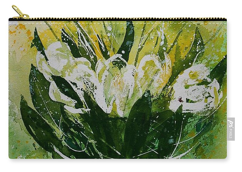 Flowers Carry-all Pouch featuring the painting Watercolor Tulips by Pol Ledent