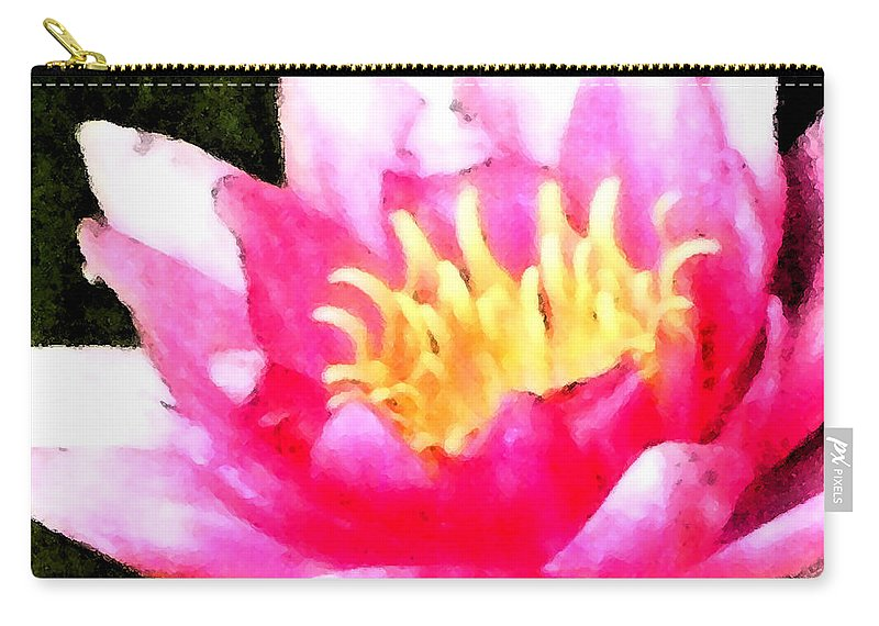 Waterlily Carry-all Pouch featuring the digital art Watercolor Waterlily by Barbara Griffin