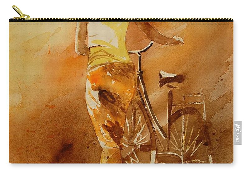 Figurative Carry-all Pouch featuring the painting Watercolor With My Bike by Pol Ledent
