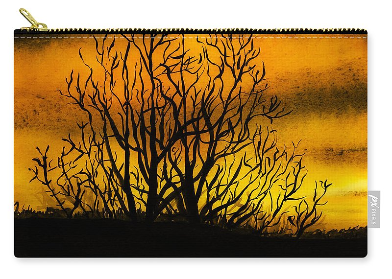 Landscape Carry-all Pouch featuring the painting Watercolour Sunset by Svetlana Sewell