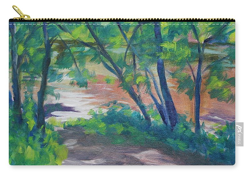 Landscape Carry-all Pouch featuring the painting Watercress Beach on the Current River  by Jan Bennicoff